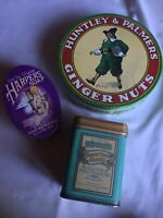 Lot of Three Reproduction Vintage Tins - Round, Oval & Square