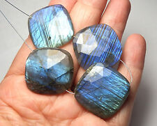 4 pcs LABRADORITE 28mm Faceted Diamond Square Beads AAA NATURAL /P18