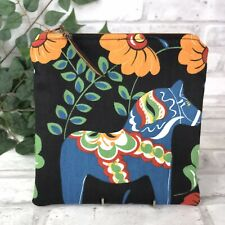 Swedish Dala Horse Black n Blue Dalahäst  Kurbits Zipper Pouch Makeup Bag