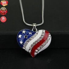 Crystaluxe American Flag Heart Pendant with Swarovski Crystals,Sterling Silver 2
