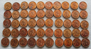 1937 UNITED STATES LINCOLN WHEAT CENTS 50 COIN ROLL - CHOICE UNCIRCULATED RED