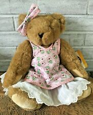 """Vermont Teddy Bear 16"""" Jointed Bear w Tags Pink Flowered Dress Vintage 1997"""