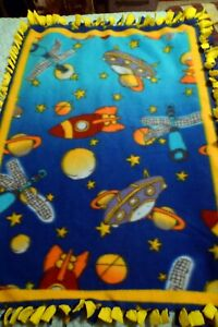 """Vintage Blanket Yellow Blue Fleece Throw Outer Space Ship Planets 48"""" x 32"""""""