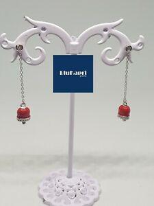 orecchini argento 925 pendente campanella smalto rosso