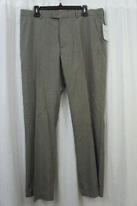 Perry Ellis Mens Pants Sz 34 x 32 Alloy Gray Plaid Business Casual Dress Pants