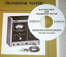 Manual for  B+K PRECISION 520B Transistor Tester Ops +Service+ Schematics