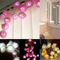 20 LED Rose Flower String Lights Fairy Wedding Christmas Party Garden Decor Bu