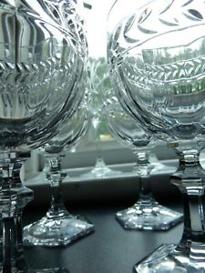 """Villeroy & Boch Miss Desiree 5.5"""" Wine Glasses Set 4 Laurel Leaf Signed 1st's"""