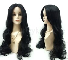 Pre-Cut Lace Front Black Long Wavy Wig Heat Resistant Goth Witch Vampiress