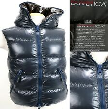 Duvetica Women's $450 Goose Down Hooded Winter Vest Size 44 Medium Full Zip Blue