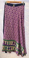 "Sari Wrap Skirt Reversible 37.5'L 52""W Purple w Green and Blue Gold Two Sided"