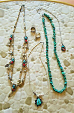 Sterling silver Native American Lot  Squash Blossom Necklace Turquoise Coral  ++
