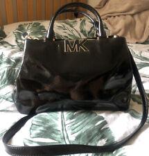 Michael Kors Black Patent Leather Florence Satchel Handbag Across Body Stunning
