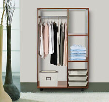 HOMCOM Mobile Open Wardrobe w/ Clothes Hanging Rail Storage Shelves Walnut