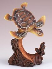 Sea Turtle Carved Wood Look Figurine Resin 4.25 Inch High New!