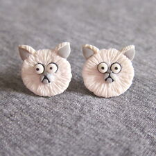 Weird Girl and Mr. Whiskers Frankenweenie Persian White Whimsical Cat Earrings