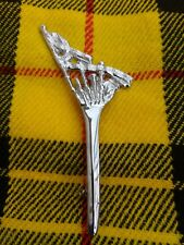 Scottish Bagpipe Kilt Pin In High Chrome Finish/Brooch Kilt Pin/Kilt Pins