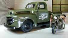 LGB 1:24 Scale Maisto Korea War Army 1948 Ford F1 & Harley Davidson Model Truck