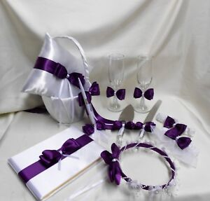 White Purple Eggplant Flower Girl Basket Ring Pillow Guest Book Pen Cake Server