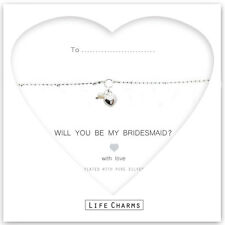 Silver plated will you be my bridesmaid heart & pearl charm bracelet & gift bag
