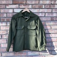 Vintage Military Army Green Wool Shirt Jacket Size Small Distressed