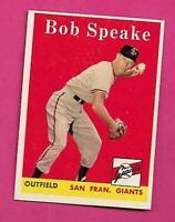 1958 TOPPS # 437 GIANTS BOB SPEAKE  EX-MT CARD (INV# C3163)