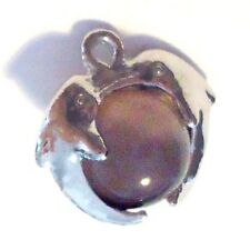 10 pieces Silver Plated Cat Eye's Glass Charm Pendants - A8212