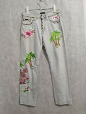 Dolce Gabanna Archive Embroidered Dragon Hawaii Motif Studded Jeans 34 x 32