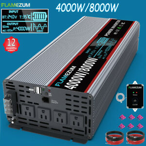 4000W/8000W Power Inverter Pure Sine Wave 24V DC to AC 120V Car Power Converter