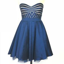 Aidan Maddox Blue Strapless Party Dress Womens Size 10 Mesh Inset Fit Flare