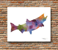 Salmon Abstract Watercolor Wildlife Painting Art Print by DJR