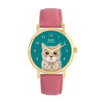 Toff London TLWS-24016 Beige Tabby Cat Head Watch