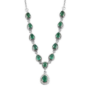 """925 Sterling Silver AAA Emerald Necklace Women Fine Jewelry For Size 18"""" Ct 4"""