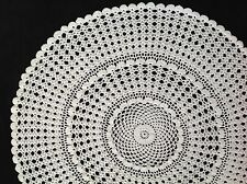 "Handmade  22"" 56 large ivory / cream vintage crochet doilie doily doiley round"