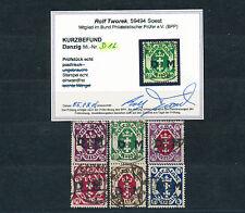 Danzig Dienstmarken 1922 Wappen Michel 15-20 geprüft + Befund (S14479)