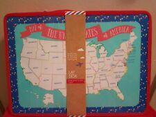 Travel Lap Desk for Kids USA Map with Storage Pocket