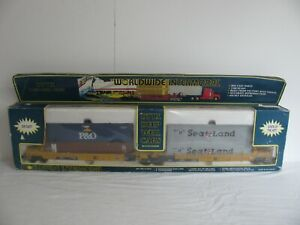 Vintage K-Line O/O-27 Scale 2-Unit DTTX Intermodal Deep Well Cars w/ Containers