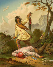 Native American Indian Scalpo 1850 S Guerriero Coraggioso cuoio capelluto Coltello 6x5 pollici stampa