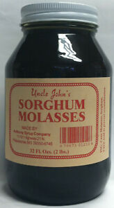 Uncle Johns Sorghum Molasses Syrup 32 Fl Oz Glass Jar