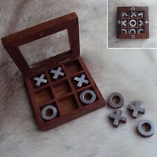 Wooden Tic Tac Toe / Noughts and Crosses Game & Box. Ideal for Home or Office