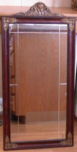 """Antique Mirror with Beveled Accents and Raised Floral Decoration 29.5'l x 14.5""""w"""