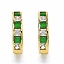 Beautiful New 14 K Gold Filled Hoop Earrings w/Green+White Sapphires~w/Gift Bag