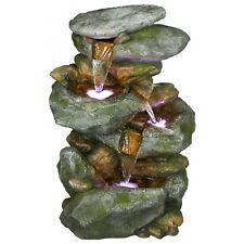 Cascade Water Fountain Led Light 4 Tiered Rock Freestanding Outdoor Garden Decor