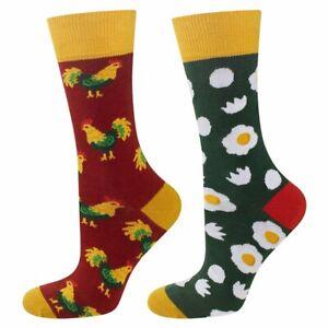 Mens Chicken and Eggs Socks (Pair) Odd-Socks - Size: UK:6.5-10 (EU 40-45)