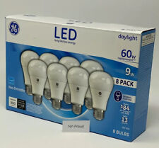 GE 9 Watt A19 LED Bulb (Daylight, 8 Pack) Fast Shipping