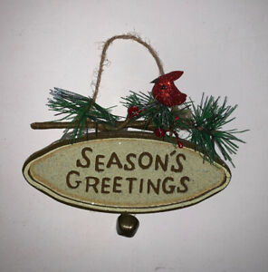 """SEASON'S GREETINGS"" Oval Wooden Hanging Sign Cardinal/Bell Rustic Farmhouse"