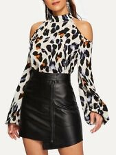 Frío Hombro Leopard Print Blusa Mujer Talla M PVP 26 $