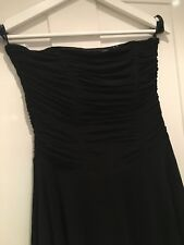 Ladies M&S AUTOGRAPH black strapless corset ruched midi Dress Size 12 Wedding