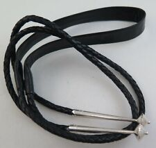 Comfort Black Leather Flat Neck 6 Ply Bolo Tie Cord & Large Sterling Silver Tips