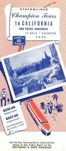 1953 B&O Baltimore & Ohio Railroad tour brochure -California & Pacific Northwest